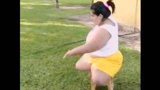 Dak amputee woman moving with a stool