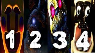 Final Nights 1, 2, 3, 4 ALL JUMPSCARES | FNaF History