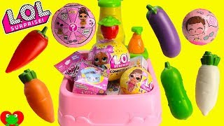 LOL Surprise Confetti Pop Color Changing Vegetables Magical Toy Kitchen Sink