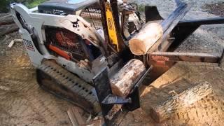 Wood splitter C&C Equipment Bobcat T190 Skid steer attachment 812-336-2894 Processor