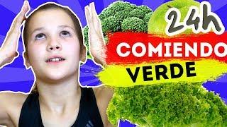 24 HORAS COMIENDO VERDE | ME CAIGO EN EL HIELO Y ME HAGO DAÑO | Daniela Golubeva