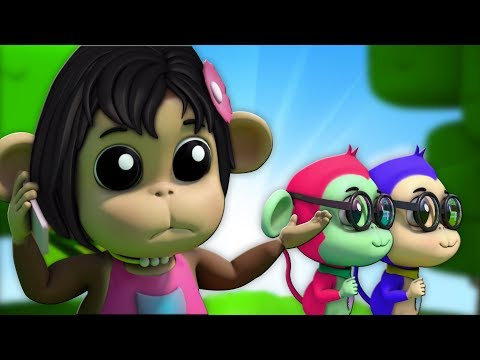 lima monyet kecil sajak pembibitan Lagu 3d lagu anak-anak Five Little Monkey Nursery Rhyme For Kids