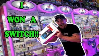 I WON A NINTENDO SWITCH FROM THE CLAW MACHINE Playing arcade games and EClaws WON MAJOR PRIZE TeamCC