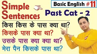 Basic English Grammar Lesson | Simple Sentences Past Cat - 2