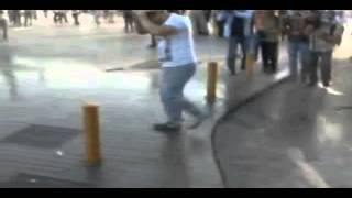 Dude gets washed by fire hose and dose a flip!