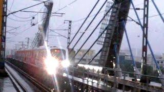 Amazing Monsoon Look of Mumbai Metro Train Crossing Western Express Highway In Rain India 2014 [HD]