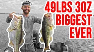 INSANE 49lbs 3oz Fishing for Bass ~ Biggest Bag Ever on YouTube