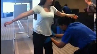 WTF! Women being touched at private parts Awkward Airport Security  (Viral video)