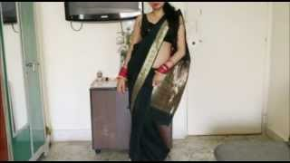 How To Wear Banarsi Saree/Bollywood Hot Black Sari Wearing :)