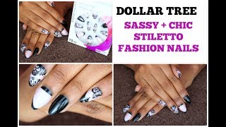 Dollar Tree | SASSY & CHIC  STILETTO NAILS | BLACK LACE Design Manicure WITHOUT BREAKING BANK!!