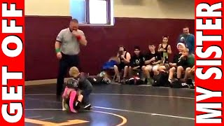 Little Brother Saves Sister In Wrestling Match! GET OFF My Sister!