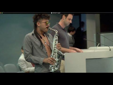 Sexy Sax Man Surprises the Mayor at Miami Beach City Hall