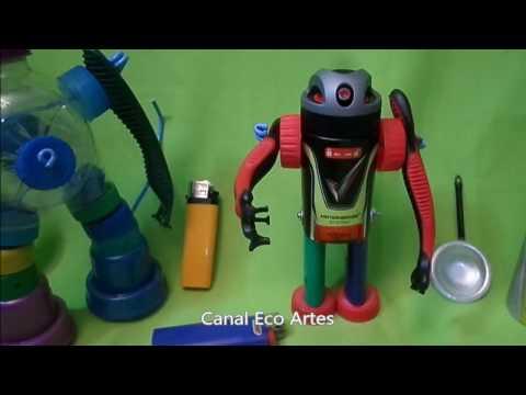 Como fazer Robô Articulado com 04 Tipo de Materiais Reciclados.