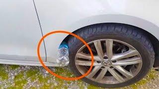 تحذير !! إذا رأيت زجاجة بلاستيكية على إطارات سيارتك ؟ لا تحاول لمسها ..!!