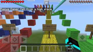MINECRAFT PE: Rainbow Parkour Race From MCPE Master.