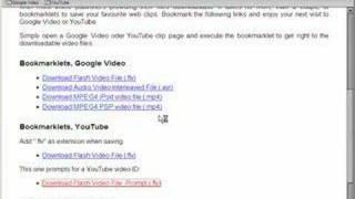 Video Download Bookmarklets (Old Version)