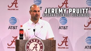 Watch Alabama defensive coordinator Jeremy Pruitt address the press at Media Day