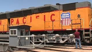 Worlds largest diesel locomotive on the Cheyenne turntable DD40X 6936.