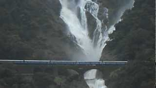 Indian Railways : Amaravathi express Passing Dudhsagar falls- Taken from View point