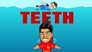 SUAREZ BITE! Luis Suarez in JAWS PARODY REMAKE (442oons football cartoon)