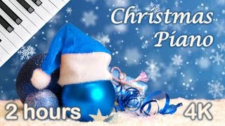 ✰ 2 HOURS ✰ Christmas PIANO Instrumental ♫ ✰ Peaceful Christmas Music ✰ 4K UHD Video Snow Falling