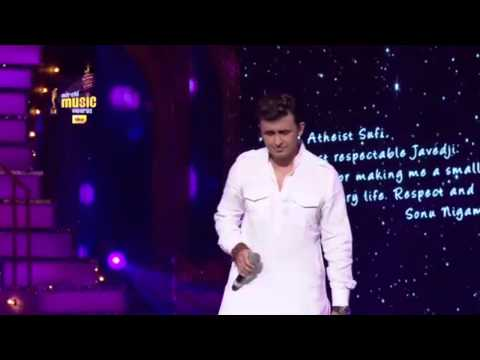 An emotional tribute to Javed Akhtar from Sonu Nigam at the 7th Royal Stag Mirchi Music Awards