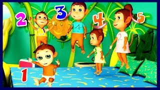 Five Little Monkeys Jumping On The Bed  | Rhyme4Kids