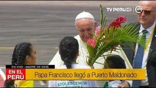 Niños reciben con canto y baile al papa Francisco en Puerto Maldonado