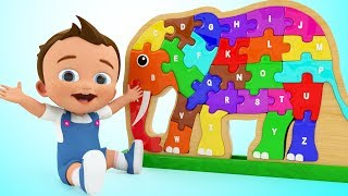 Baby Learning Alphabets for Children - ABC Songs for Kids Elephant Wooden Puzzle ToySet for Toddler