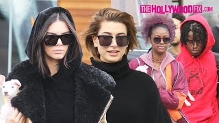 Kendall Jenner, Hailey Baldwin, Ian Connor & Justine Skye Take New Dog Mew Shopping & To Lunch