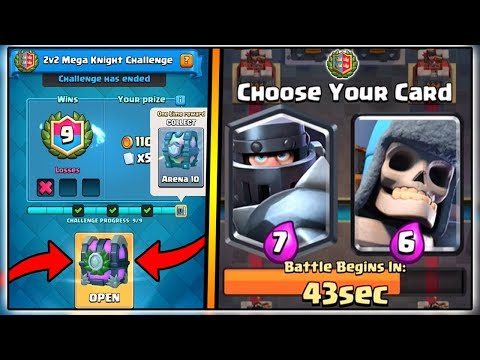 9 WINS 2V2 MEGA KNIGHT CHALLENGE | CLASH ROYALE | FREE LEGENDARY CHEST!