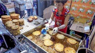 Korea Street Food. Massive Dose of 'Bindaetteok' Pancakes. Gwangjan Food Market, Seoul