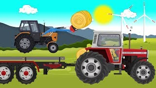 #Tractor with front loader and Picking Up Straw #Bales, Tractor Story | Praca na Polu bajki Traktory