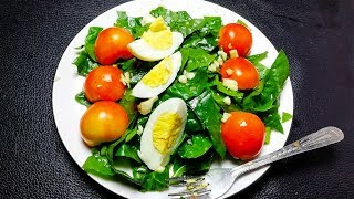 Green salad with boiled eggs for weight loss
