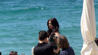 Aishwarya Rai shooting session on the beach in Cannes
