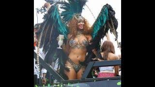 Rihanna Flaunts Boobs & Bare Butt In Jeweled Bikini At Barbados Carnival Parade