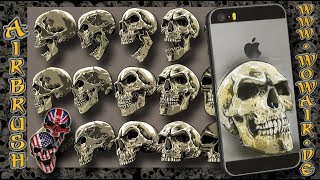 """Airbrush by Wow No.893 """" Skull on an old iPhone """" english commentary"""