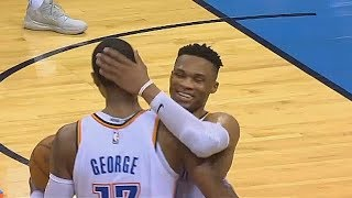 Russell Westbrook Shares A Special Moment With Paul George After Passing Wilt Chamberlain!