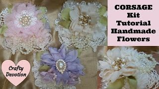 Wrist Corsage Pink, Lavender, Cream Shabby Chic Crafts, lace flowers Mother's Day. wedding corsage
