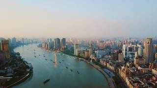 Shanghai Sunrise on the Bund | 2.7K Drone Footage