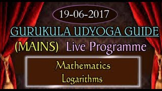 GURUKULAM ||  Mathematics - Logarithms (Mains) - P1  || LIVE INTERACTION With R.L.N. Murthy