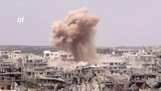 الطائرات الروسية  تغيرعلى أحياء مدينة درعا وتقصف بصواريخ ازدواجية