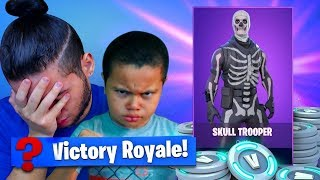 IF 9 YEAR OLD BROTHER LOSE THIS SOLO GAME I TAKE AWAY HIS SKULL TROOPER! FORTNITE BATTLE ROYALE!