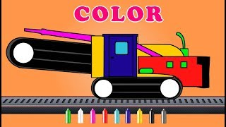 Trencher | construction vehicle | Coloring video for kids  | color song