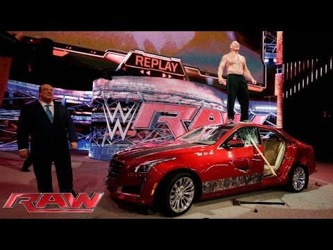 Brock Lesnar destroys J&J Security s prized Cadillac Raw July 6 2015