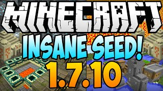★ Minecraft 1.7.10 Seeds: INSANE SEED! Diamonds, Stronghold, Temples & Villages At Spawn - 1.8 Seeds