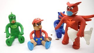 PJ Masks Care for Baby Mario Play Doh Cartoon Stop Motion Kids Movies