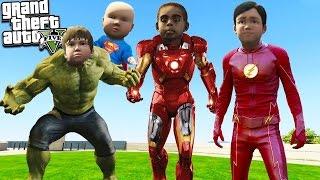 GTA 5 Kids BECOMING SUPERHEROES! Iron Man, The Hulk, The Flash & More (GTA 5 Mods)