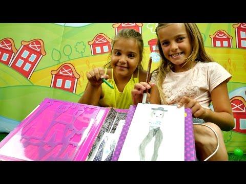 Sema oyuncak bebeklerini moda kıyafetleriyle çiziyor. Çocuk resim çizme. #Kızoyunları