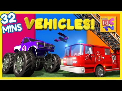 Fire Truck Dump Truck Monster Truck & More Vehicles for Kids Collection Vol 1